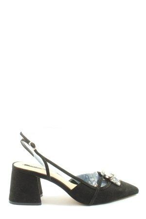 Zara Basic Sandalias de tacón con plataforma negro look efecto mojado