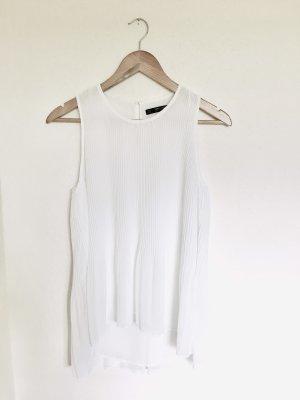 Zara Basic Plissee Top Bluse weiß Gr. S