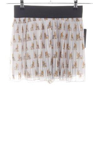 Zara Basic Pleated Skirt light grey allover print casual look