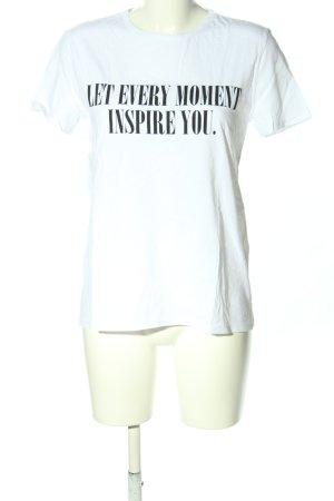 Zara Basic Print-Shirt weiß-schwarz Schriftzug gedruckt Casual-Look