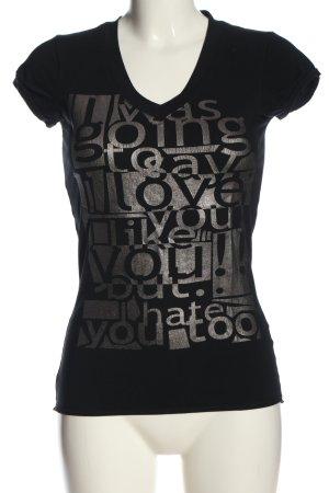 Zara Basic Print-Shirt schwarz-hellgrau Schriftzug gedruckt Casual-Look