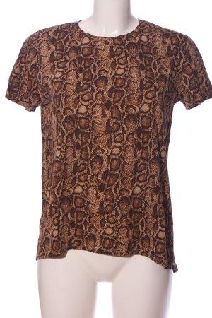 Zara Basic Print-Shirt braun-nude Allover-Druck Casual-Look