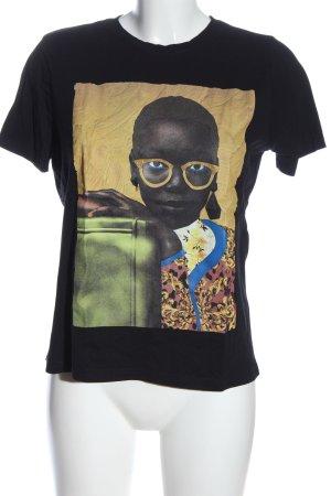 Zara Basic Print-Shirt schwarz Motivdruck Casual-Look