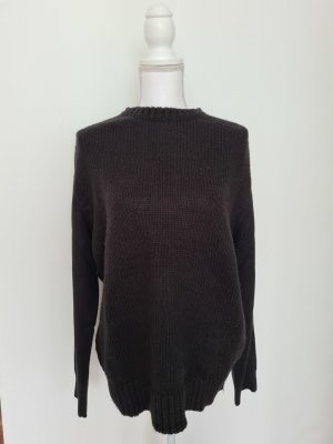 Zara basic Pullover aus Wolle lässiger Strickpullover in schwarz Gr. XL