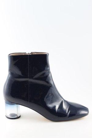 Zara Basic Reißverschluss-Stiefeletten blau Business-Look