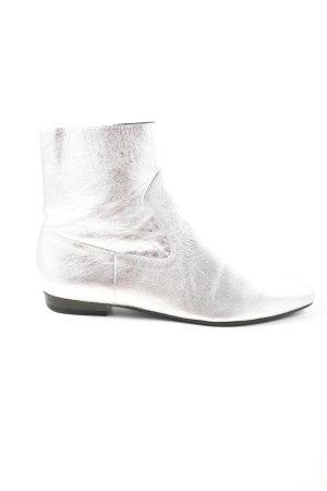 Zara Basic Reißverschluss-Stiefeletten silberfarben Elegant
