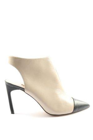 Zara Basic Reißverschluss-Stiefeletten wollweiß-schwarz Casual-Look