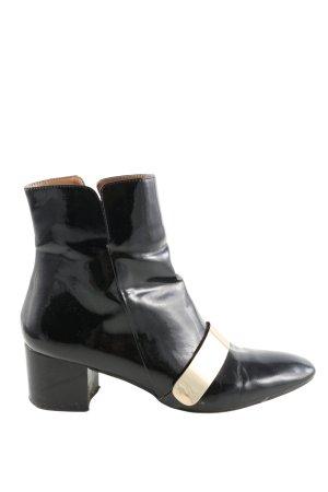 Zara Basic Reißverschluss-Stiefeletten schwarz-wollweiß Elegant