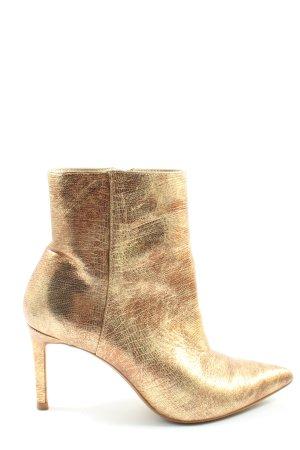 Zara Basic Reißverschluss-Stiefeletten goldfarben extravaganter Stil