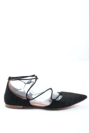 Zara Basic Baleriny z rzemykami czarny Elegancki