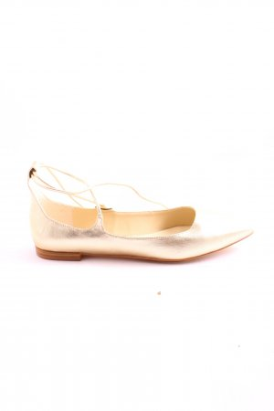 Zara Basic Lakierowane baleriny złoto W stylu casual