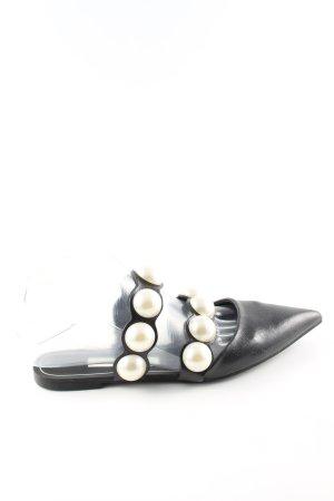 Zara Basic Riemchen-Sandalen schwarz-wollweiß Casual-Look