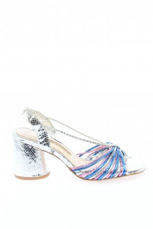 Zara Basic Riemchen-Sandaletten silberfarben-blau Animalmuster Elegant