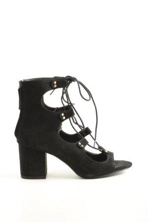 Zara Basic Riemchen-Sandaletten schwarz Casual-Look