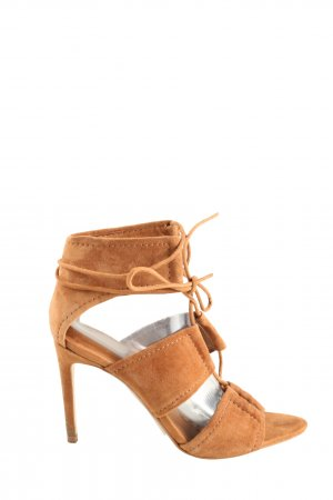 Zara Basic Riemchen-Sandaletten hellorange Casual-Look