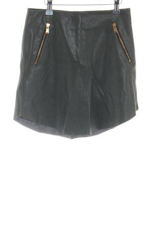 Zara Basic Spódnica z imitacji skóry khaki Ekstrawagancki styl