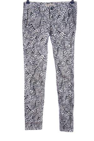 Zara Basic Röhrenhose schwarz-weiß Allover-Druck Casual-Look