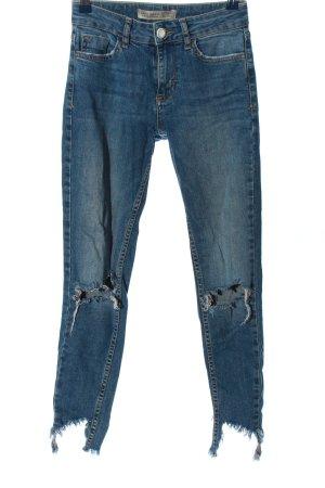 Zara Basic Jeans a sigaretta blu stile casual