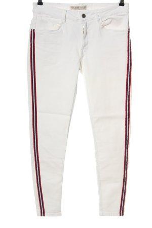 Zara Basic Röhrenjeans weiß-rot Streifenmuster Casual-Look