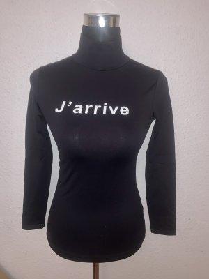 Zara Basic Rolli Pulli Shirt Stretch enganliegend Aufdruck J'arrive