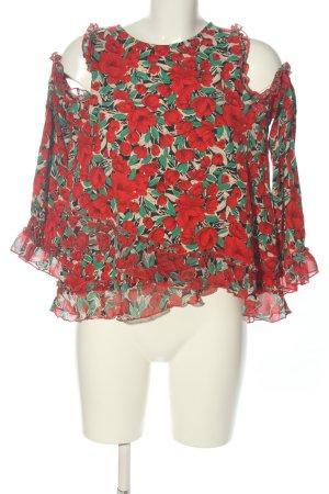 Zara Basic Rüschen-Bluse rot Allover-Druck Casual-Look