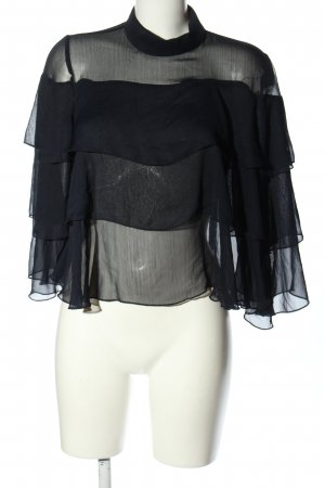 Zara Basic Rüschen-Bluse schwarz Elegant