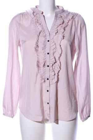 Zara Basic Rüschen-Bluse pink Casual-Look