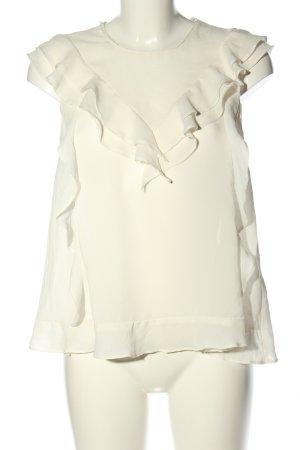 Zara Basic Rüschen-Bluse wollweiß Casual-Look