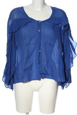 Zara Basic Rüschen-Bluse blau Business-Look
