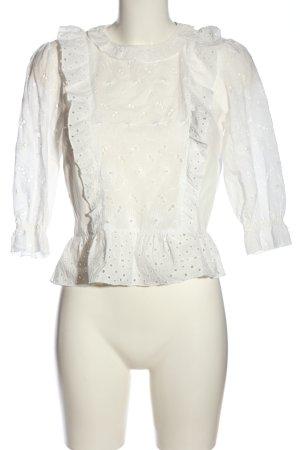 Zara Basic Rüschen-Bluse weiß Casual-Look