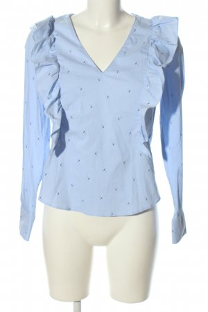Zara Basic Rüschen-Bluse blau Allover-Druck Business-Look