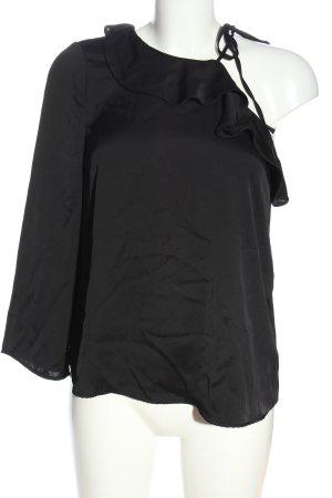 Zara Basic Rüschen-Bluse schwarz Casual-Look