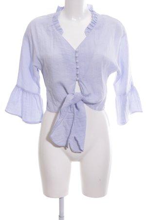 Zara Basic Rüschen-Bluse blau Casual-Look