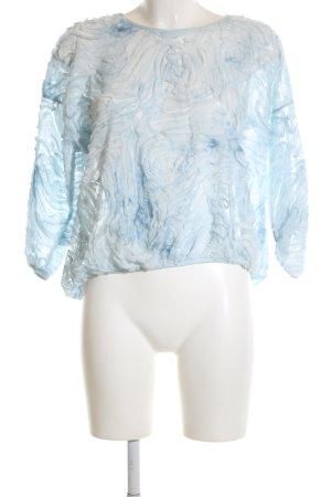 Zara Basic Rüschen-Bluse blau-weiß Farbverlauf Casual-Look