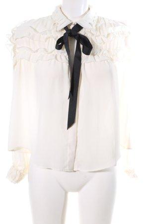 Zara Basic Rüschen-Bluse creme-schwarz Business-Look
