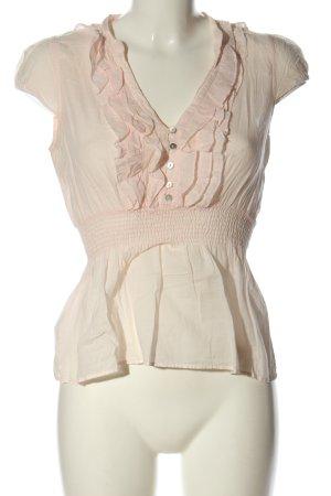 Zara Basic Rüschen-Bluse creme Casual-Look