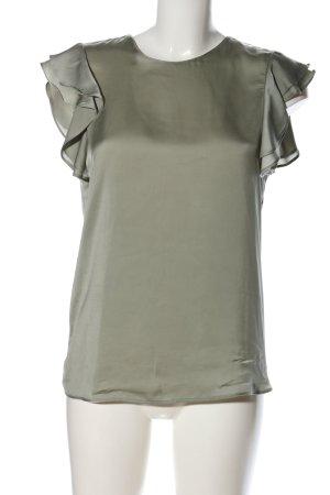 Zara Basic Rüschen-Bluse khaki Casual-Look