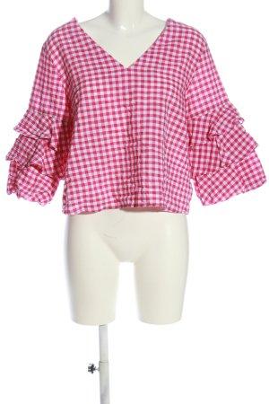 Zara Basic Rüschen-Bluse pink-weiß Allover-Druck Casual-Look