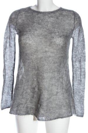 Zara Basic Rundhalspullover hellgrau Casual-Look