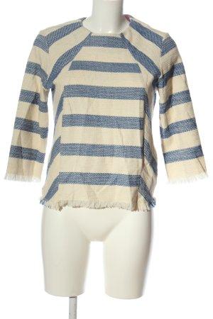 Zara Basic Rundhalspullover creme-blau Streifenmuster Casual-Look