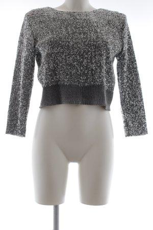 Zara Basic Rundhalspullover silberfarben Glitzer-Optik