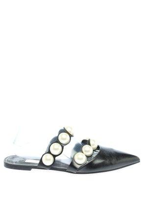 Zara Basic Sabots schwarz-wollweiß Casual-Look