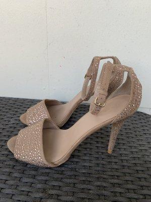 Zara Basic Sandaletten gr 40 beige mit Steinen