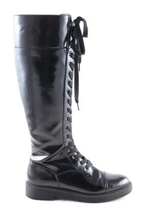 Zara Basic Stivale militare nero stile casual