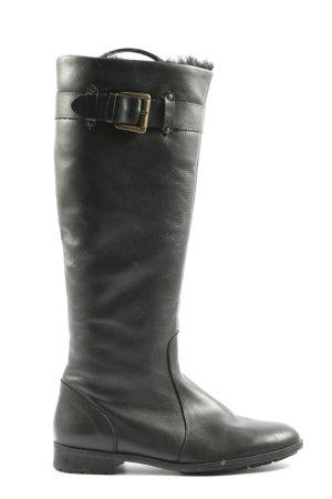 Zara Basic Kozaki z cholewką czarny W stylu casual
