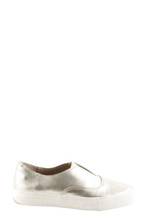 Zara Basic Schlüpfschuhe goldfarben-weiß Casual-Look