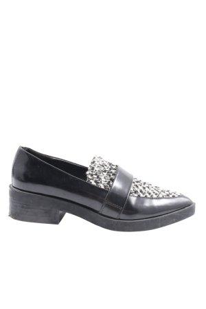 Zara Basic Schlüpfschuhe schwarz-weiß Webmuster Business-Look