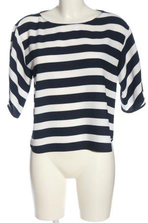 Zara Basic Schlupf-Bluse weiß-blau Streifenmuster Business-Look
