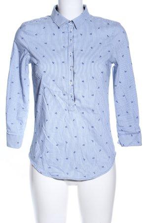 Zara Basic Schlupf-Bluse blau-weiß Motivdruck Casual-Look