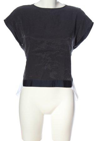 Zara Basic Schlupf-Bluse hellgrau-weiß Casual-Look